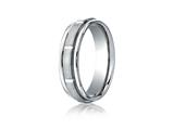 <b>Engravable</b> Benchmark® Platinum 6mm Comfort-fit Satin-finished Polished Center Cuts And Carved Design Band style: PTRECF76452P