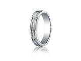 <b>Engravable</b> Benchmark® Argentium Silver 5mm Comfort-fit Satin-finised Double Groove Center Design Band style: RECF55180SV