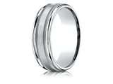 Benchmark® Palladium 7mm Comfort-fit Satin Finish Center With Milgrain Round Edge Carved Design Band style: RECF7701SPD