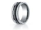 <b>Engravable</b> Benchmark® 8mm Tungsten Forge® Wedding Ring with Seranite Center style: RECF78862CMTG