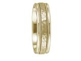 Benchmark® 18 Karat Gold 6mm Comfort-fit Hammered Center High Polish Round Edge Carved Design Band style: CF15630918K