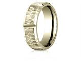 Benchmark® 14 Karat Gold 7mm Comfort-fit Hammered Finish Grooved Carved Design Band style: CF67468