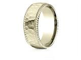 Benchmark® 18k Gold 8mm Comfort-fit Rope Edge Hammered Finish Design Band style: CF6846718K