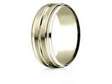 Benchmark® 10k Gold 8mm Comfort-fit Drop Bevel Satin Center Cut Design Band style: CF6848410K