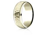 Benchmark® 14k Gold 8mm Comfort-fit Drop Bevel Hammered Finish Design Band style: CF68490