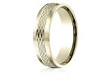 Benchmark® 14 Karat Gold 6.5mm Comfort-fit Mesh Center Satin Finish Edge Design Band style: CF716507