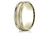 Benchmark® 18k Gold 7mm Comfort-fit Satin Finish Center With Milgrain Round Edge Carved Design Band style: RECF7701S18K