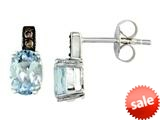Effy Collection 14k White Gold Brown Diamond and Aquamarine Earrings style: 520270