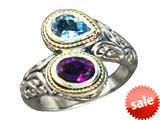 Balissima By Effy Collection Sterling Silver and 18k Amethyst and Blue Topaz Ring style: 520337