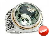 Balissima By Effy Collection Sterling Silver and 18k Yellow Gold Green Amethyst Ring style: 520340