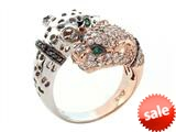Effy Collection Panther 14k Two Tone Gold Emerald Ring style: 520424