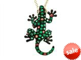 Effy Collection 14k Yellow Gold Tsavorite Orange Sapphire Lizard Pendant Necklace style: 520428