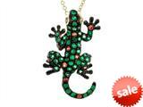 Effy Collection 14k Yellow Gold Tsavorite Orange Sapphire Lizard Pendant style: 520428