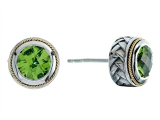 Balissima By Effy Collection Sterling Silver And 18k Yellow Gold Peridot Earrings 1 70 Ct Tw Style No 520236