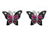 "Finejewelers Black and Pink Enamel Sterling Silver Butterfly Earrings with Pink CZ""s style: BEC0669"