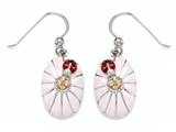 "Pink Enamel Sterling Silver Earrings with Orange CZ""s and Ladybug style: BEC1077"