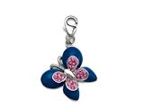 "Blue and Pink Enamel Butterfly Charm with Pink CZ""s for Charm Braclelet or Smartphone using our Smartphone Plug Adaptor style: BPC1346"
