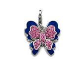 "Blue and Pink Enamel Butterfly Charm with Pink CZ""s for Charm Braclelet or Smartphone using our Smartphone Plug Adaptor style: BPC1361"