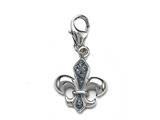 "Blue Enamel Fleur De Lis Charm with Blue CZ""s for Charm Braclelet or Smartphone using our Smartphone Plug style: BPC1770"