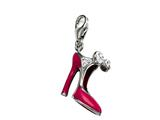 "Pink and Red Enamel High Heel Shoe Charm with White CZ""s for Charm Braclelet or Smartphone using our Smartphone Plug style: BPC1775"