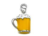 "Yellow and White Enamel Beer Mug Charm with White CZ""s for Charm Braclelet or Smartphone using our Smartphone Plug style: BPC1856"