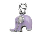 Purple Enamel Elephant Charm for Charm Braclelet or Smartphone using our Smartphone Plug style: BPP1715