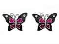 "Black and Pink Enamel Sterling Silver Butterfly Earrings with Pink CZ""s"