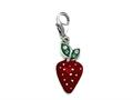 "Red and Green Enamel Strawberry Charm with Green CZ""s for Charm Braclelet or Smartphone using our Smartphone Plug"