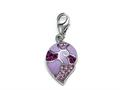 "Pink Enamel Charm with Pink CZ""s for Charm Braclelet or Smartphone using our SmartPhone Plug"