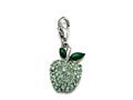"Green Enamel Apple Charm with Green CZ""s for Charm Braclelet or Smartphone using our Smartphone Plug A"