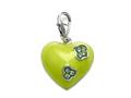 "Green Enamel Heart Charm with Green CZ""s for Charm Braclelet or Smartphone using our Smartphone Plug A"