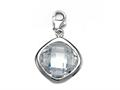 Finejewelers April Simulated Birth Month Square Shape Charm for Charm Braclelet or Smartphone using our Smartphone Plug