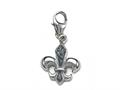 "Blue Enamel Fleur De Lis Charm with Blue CZ""s for Charm Braclelet or Smartphone using our Smartphone Plug"