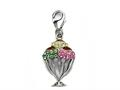 "Ice Cream Cup Enamel Charm with Pink, Green, and Yellow CZ""s for Charm Braclelet or Smartphone using our Smartphone Plug"
