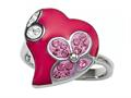 "Pink Enamel Sterling Silver Ring with White and Pink CZ""s"