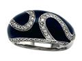 "Blue Enamel Sterling Silver Ring with White CZ""s"