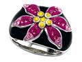 "Black, Pink, and Yellow Enamel  Sterling Silver Ring with Pink CZ""s"