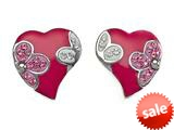"Pink Enamel Sterling Silver Earrings with White and Pink CZ""s style: BEC0876"