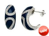 "Blue Enamel Sterling Silver Earrings with White CZ""s style: BEC0994"