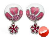 "Pink and White Enamel Sterling Silver Earrings with Pink CZ""s and a Dangling Clover Charm style: BEC1068"