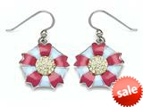 "Blue and Pink Enamel Sterling Silver Earrings with Yellow CZ""s style: BEC1069"