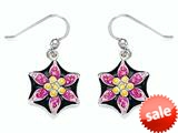 "Black, Pink, and Yellow Enamel Sterling Silver Earrings with Pink CZ""s style: BEC1070"