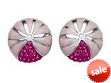 "Pink Enamel Sterling Silver Earrings with Pink CZ""s style: BEC1076"