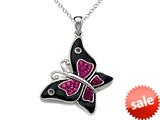 """Finejewelers Black and Pink Enamel Sterling Silver Butterfly Pendant Necklace with Pink CZ""""s style: BPC1105"""