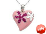 "Pink Enamel Sterling Silver Pendant Necklace with Pink CZ""s style: BPC1162"
