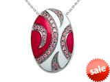 "Pink and White Enamel Sterling Silver Pendant Necklace with Pink CZ""s style: BPC1306"