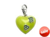 "Green Enamel Heart Charm with Green CZ""s for Charm Braclelet or Smartphone using our Smartphone Plug A style: BPC1363-01PH"