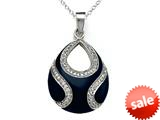 "Blue Enamel Sterling Silver Pendant Necklace with White CZ""s style: BPC1521"