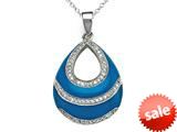 "Blue Enamel Sterling Silver Pendant Necklace with White CZ""s style: BPC1526"