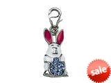 "White, Blue and Pink Enamel BunnyRabbit Charm with Blue CZ""s for Charm Braclelet or Smartphone using our Smartphone Plug style: BPC1866"